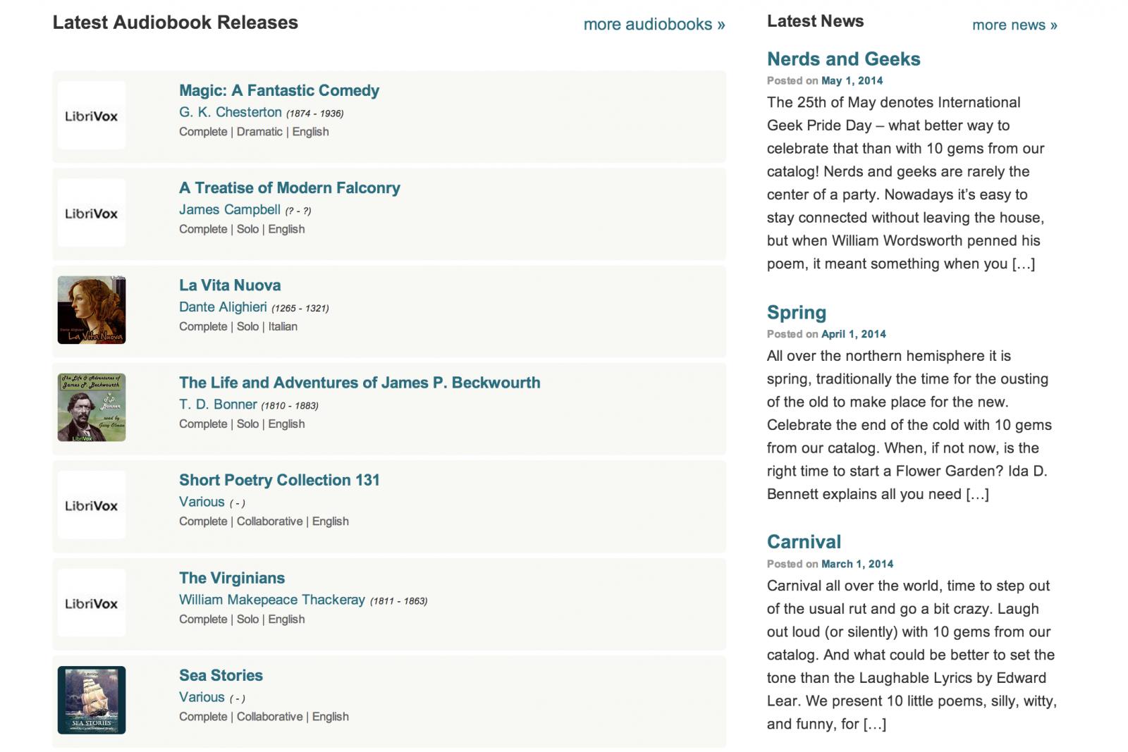LibriVox site detail