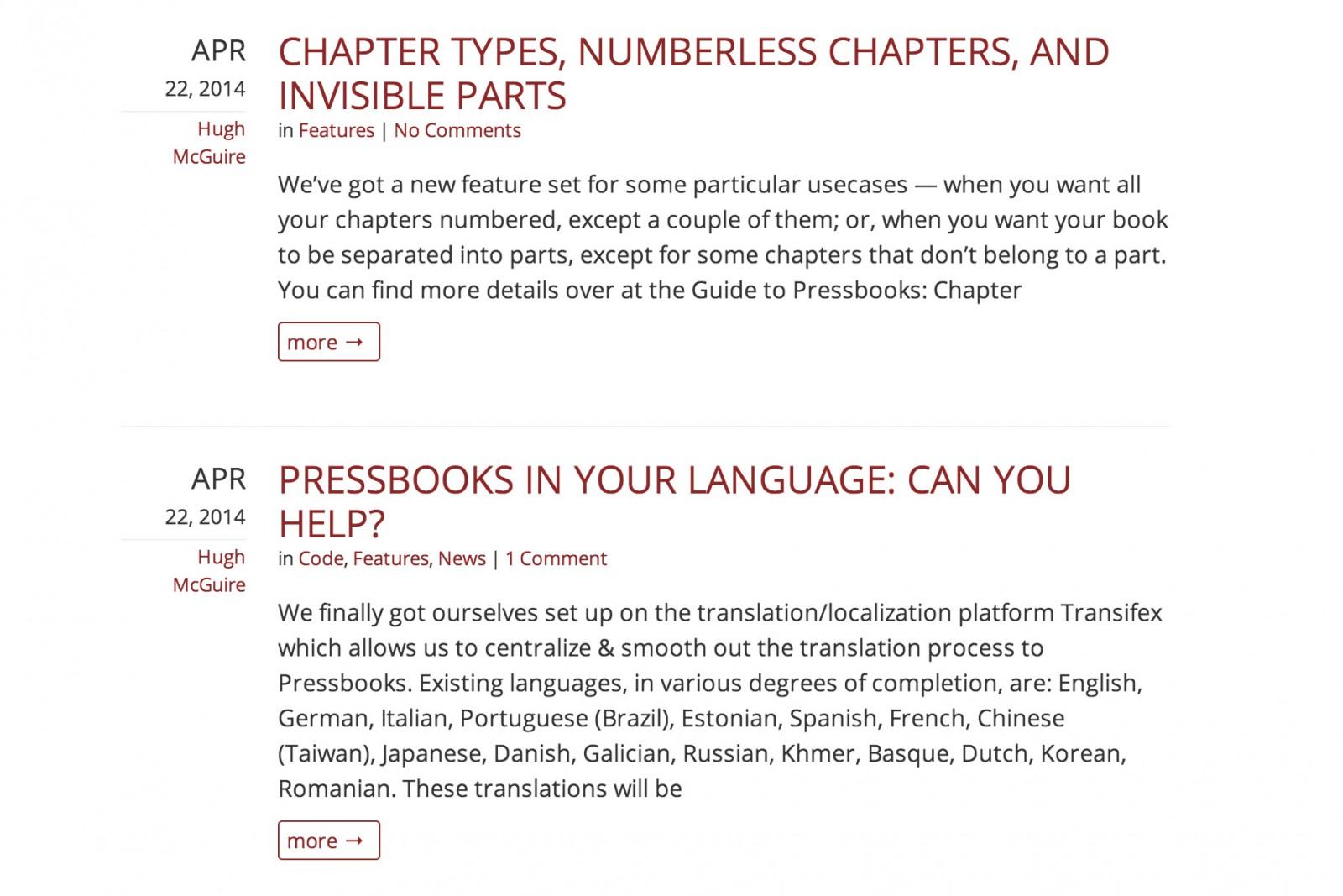 PressBooks site details