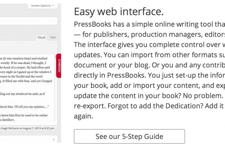 PressBooks site detail