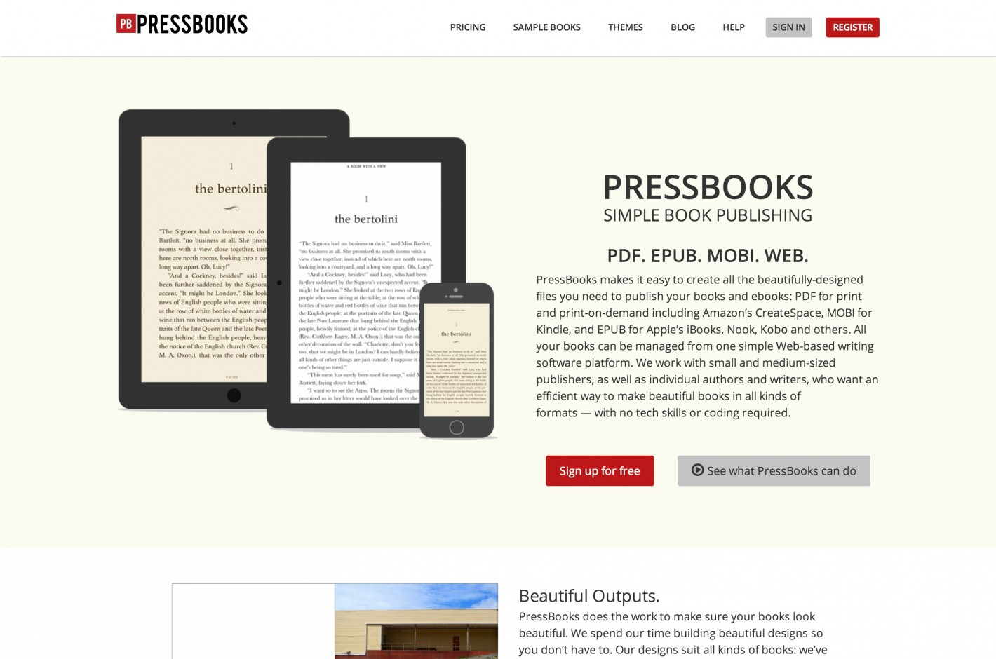 PressBooks screenshot