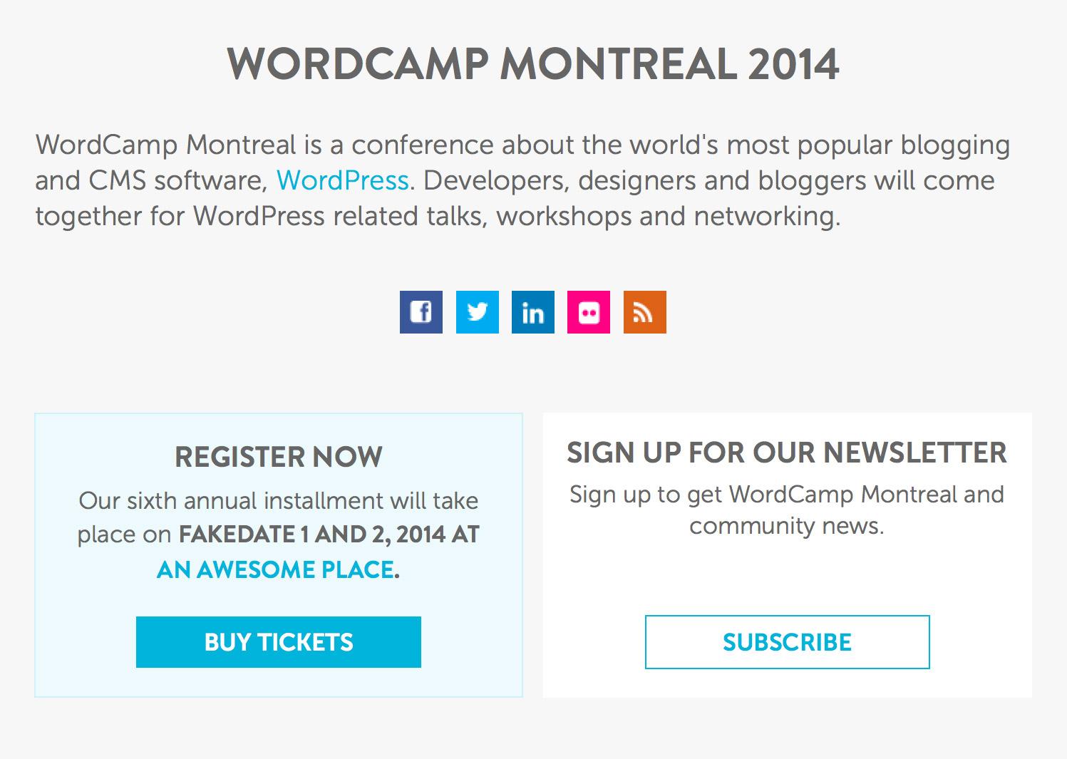 WordCamp Montreal 2014 homepage design screenshot