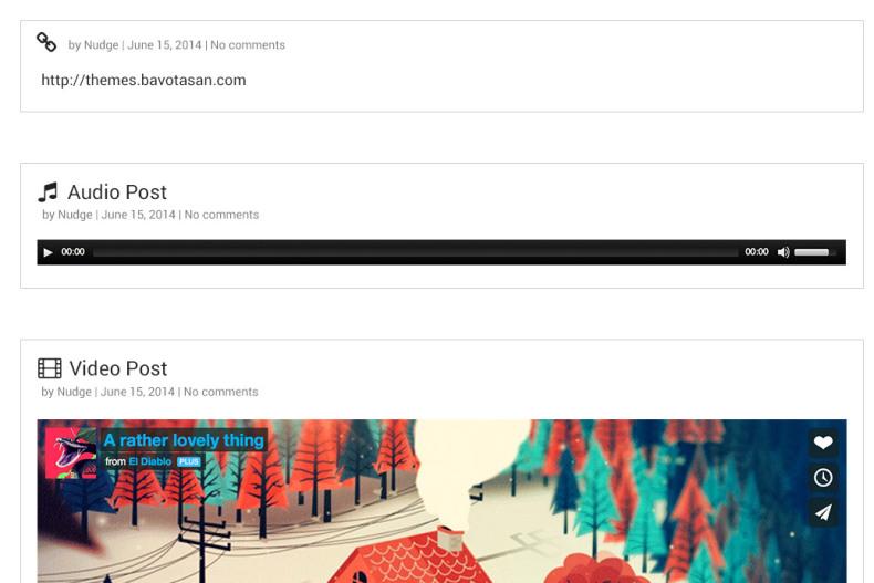National theme post formats screenshot